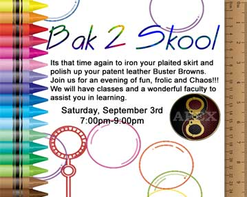 Bak 2 Skool Saturday, September 3rd 7pm-9pm