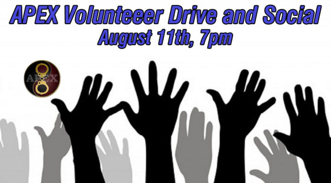 APEX Volunteer Drive and Social: August 11th, 2017